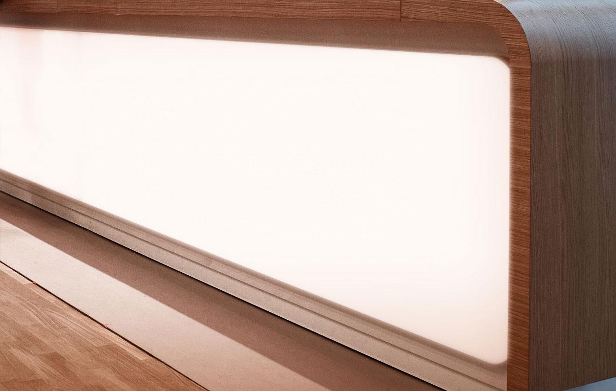 Lichttheke aus Designpanel Lightpanel frameless rgb lichtflächen in Sonderanfertigung mit an der Außenkante gerundeten Ecken gefertigt von axis in Nürnberg.