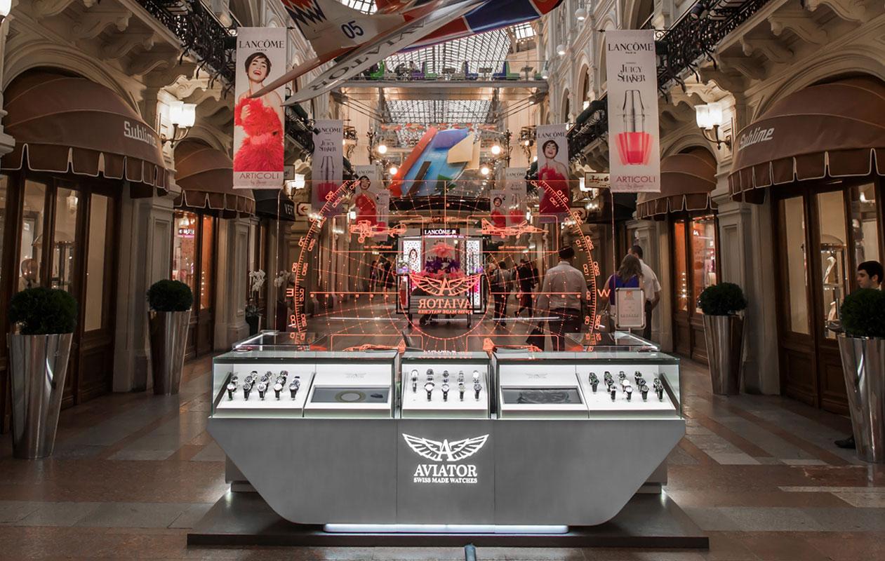 Der Aviator-Uhrenshop im geschichtsträchtigen Warenhaus GUM – ein Blickfang für die Besucher. Foto: axis