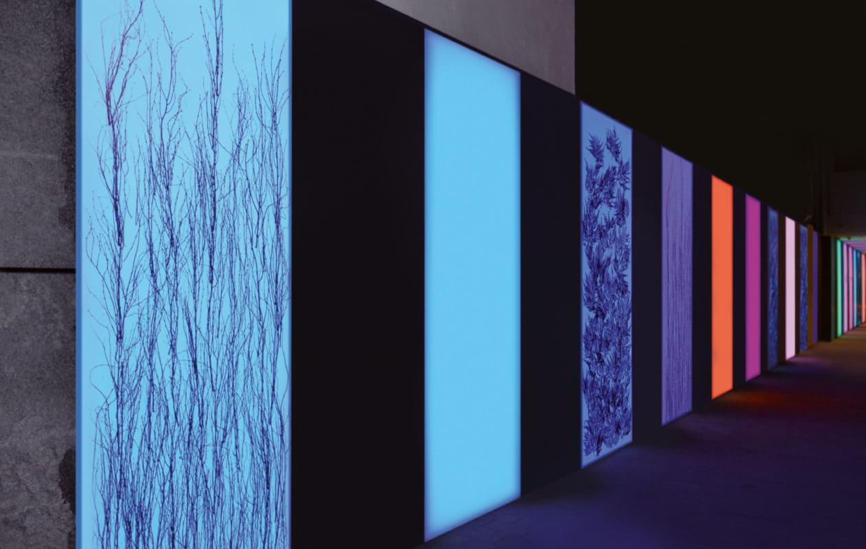 18 Lightpanels schmücken, teilweise plus Designpanel Invision oder Druck, schmücken die 40 Meter lange Innenhofwand. Foto: axis