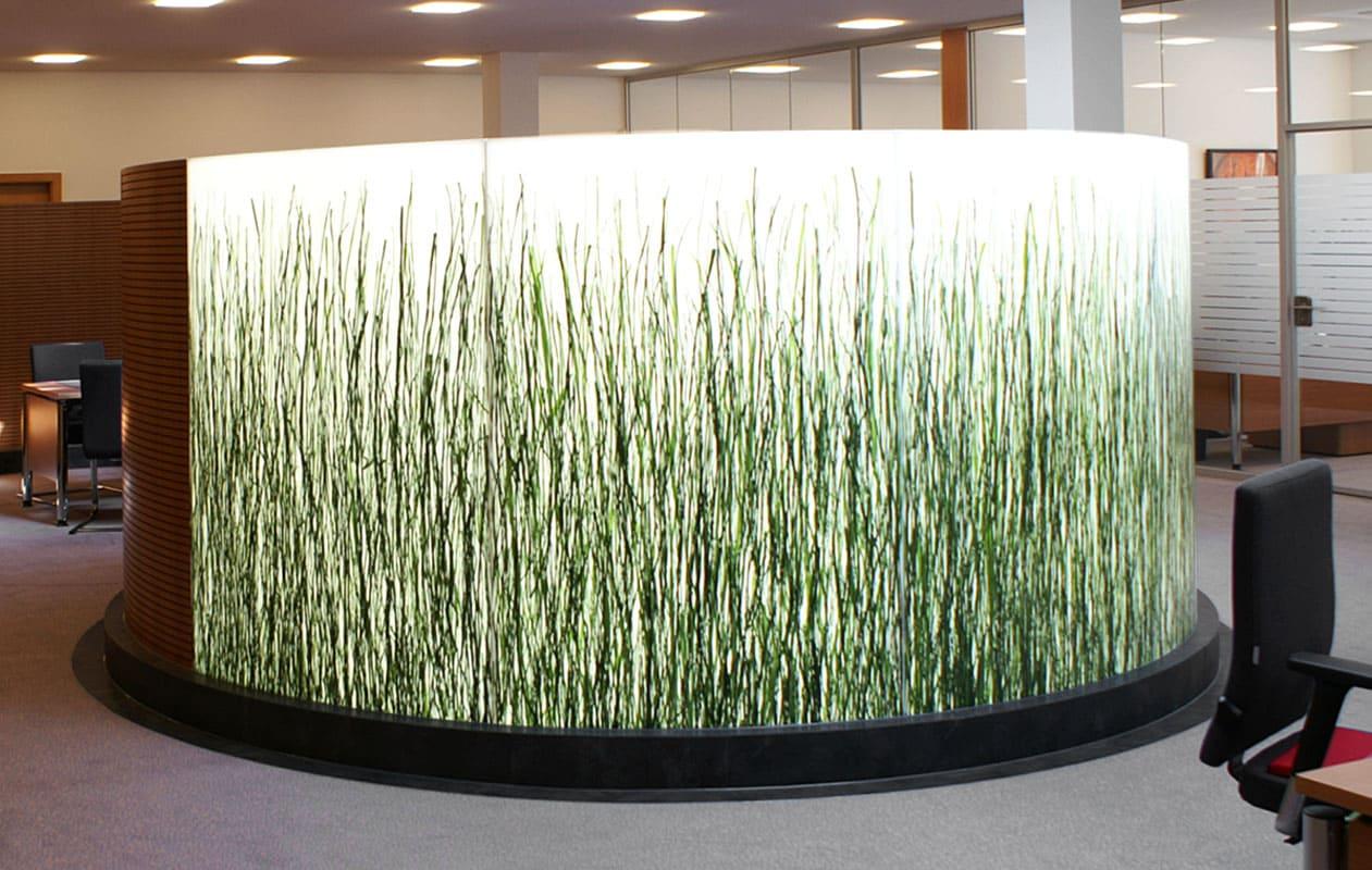 Gebogene Leuchtwand als Raumteiler aus Lightpanel frameless und Invision jungle auslaufend von Designpanel. Foto: Kiefer & Sohn, Denzlingen